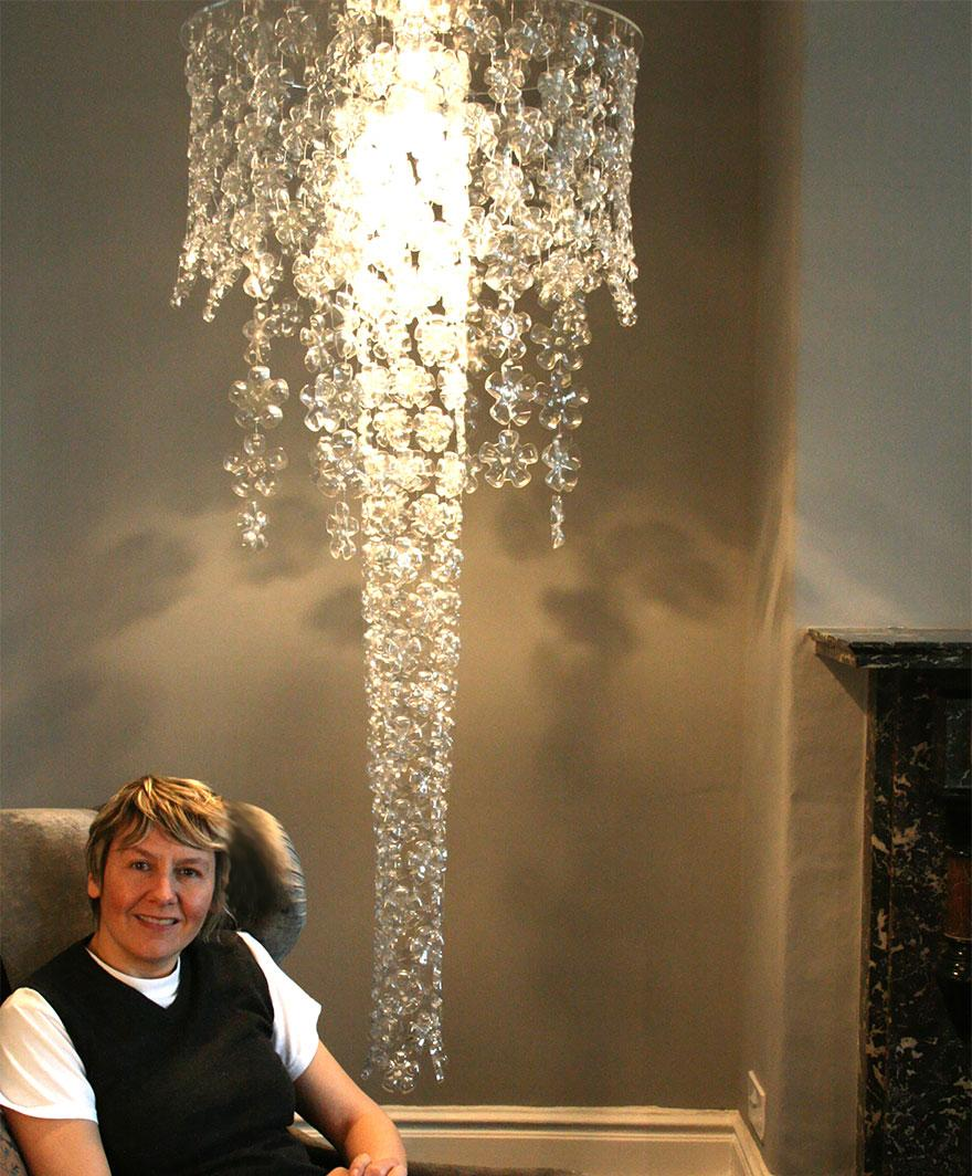 Michelle brand plastic bottle chandelier my artspiration creative diy lamps chandeliers 25 2 mozeypictures Choice Image
